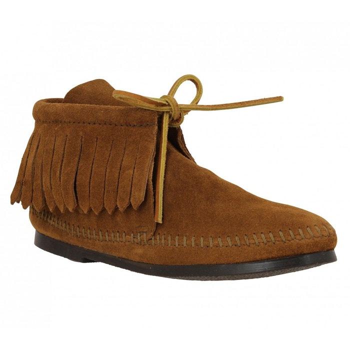 Bottines femme minnetonka classic fringe boot velours  femme marron  marron Minnetonka  La Redoute