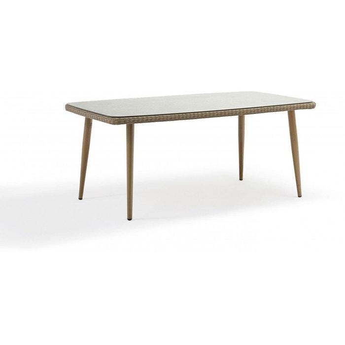 Table de jardin en aluminium et résine tressée cuba marron Delorm ...