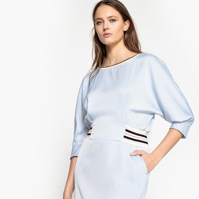 La la sportswear satinado ajustado en Redoute Vestido cintura Collections zwUqzfr