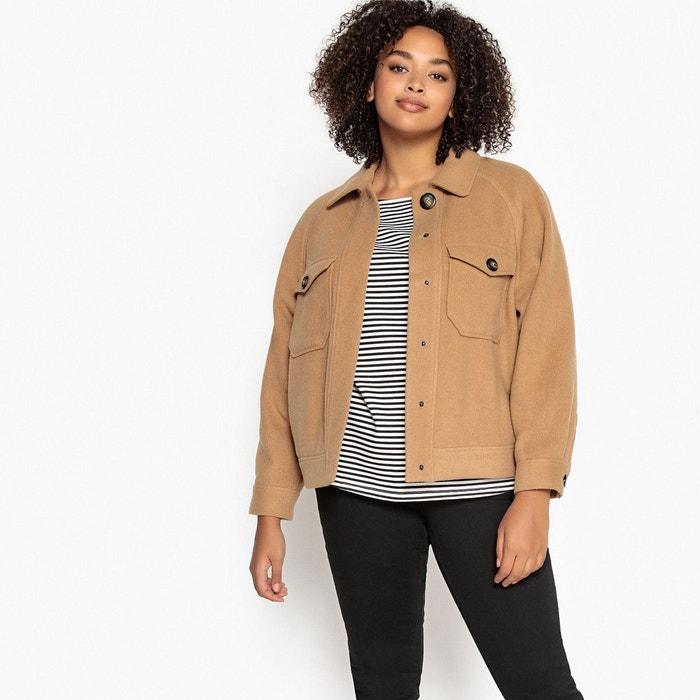 manteau court beige femme en laine