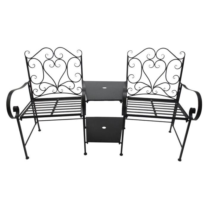 Salon de jardin bistrot 2 pers. + table basse centrale style fer forgé noir  ...