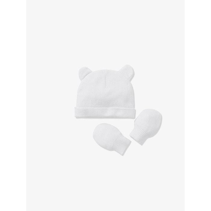 Bonnet bébé et moufles en maille coton bio