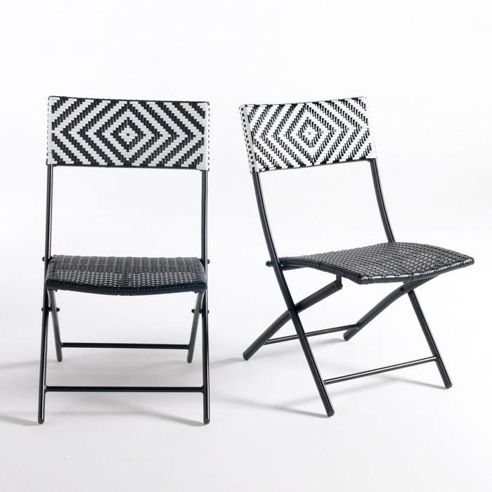 chaise lot de 2 moonbaza noir blanc la redoute interieurs la redoute. Black Bedroom Furniture Sets. Home Design Ideas