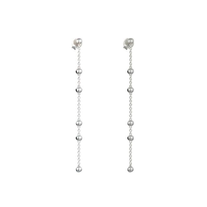 Boucles d 39 oreilles pendantes chaine et petites boules en - Nettoyer chaine en argent ...
