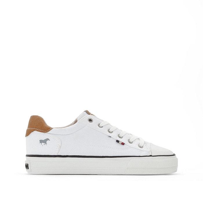f67fd704fb57cf Baskets basses à lacets toile blanc Mustang Shoes   La Redoute
