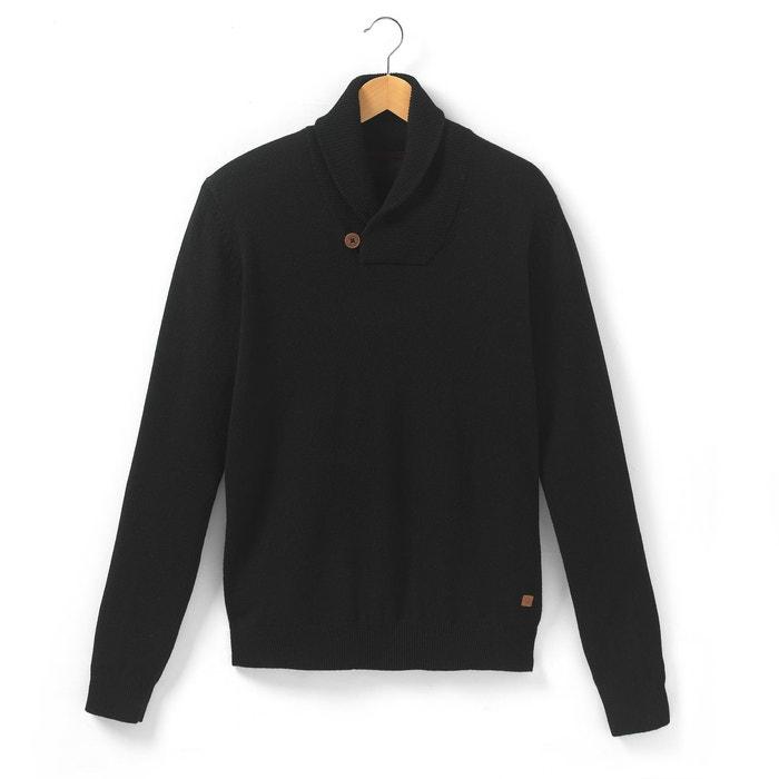 Image Pull col châle fermé par 1 bouton, pure laine d'agneau R essentiel