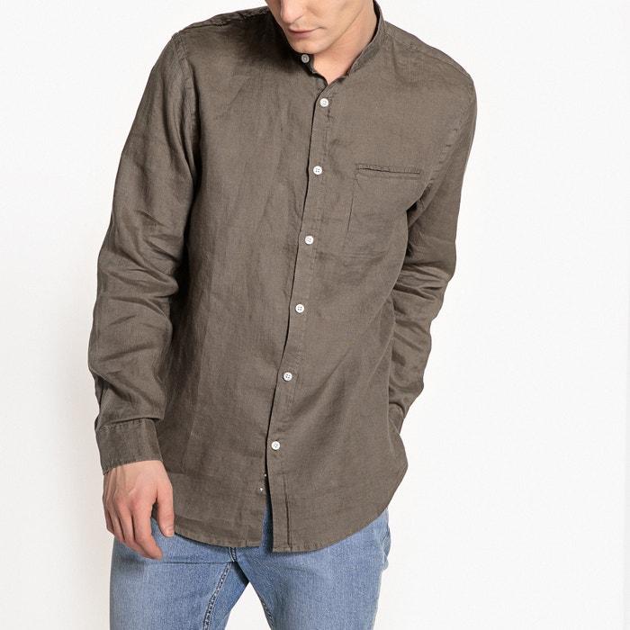 8b40622b2a6813a Рубашка прямого покроя с воротником-стойкой из льна clément серо-коричневый  каштан La Redoute Collections | La Redoute