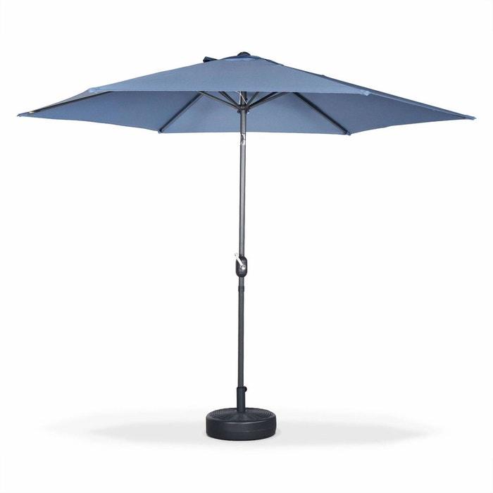parasol droit rond 300cm touquet bleu gris m t central en aluminium orientable et. Black Bedroom Furniture Sets. Home Design Ideas