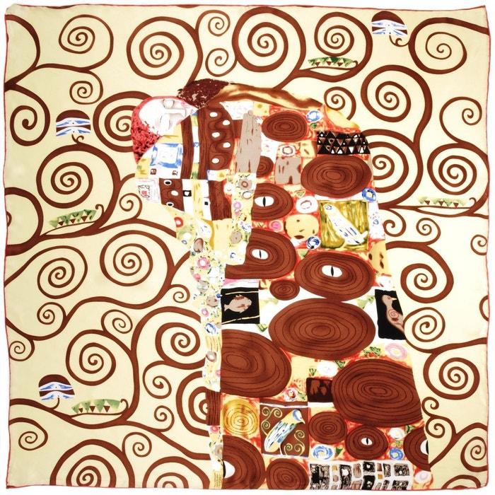 e515353ac1e6 Carré de soie SilkArt L arbre de vie CREME Gustave Klimt - 85x85 cm SILKART