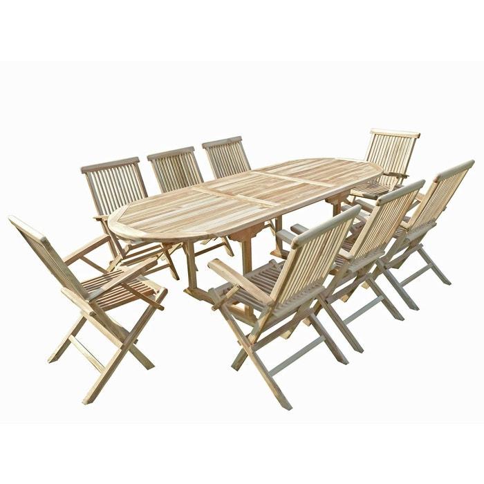 Ensemble salon de jardin en teck mahui 8 fauteuils pliants naturel C ...