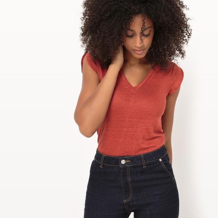 V-Neck Linen T-Shirt  La Redoute Collections image 0