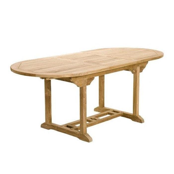 Table de jardin extensible ovale en bois de teck massif 150/200x90cm SUMMER  10 personnes