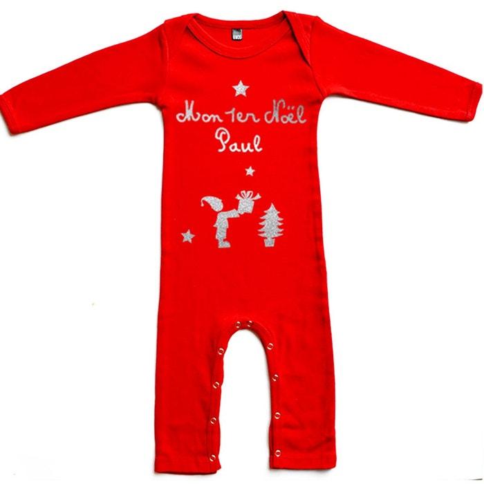 ffe0cd27b3b1e Pyjama bébé noël prénom en coton manche longue rouge Les Griottes ...