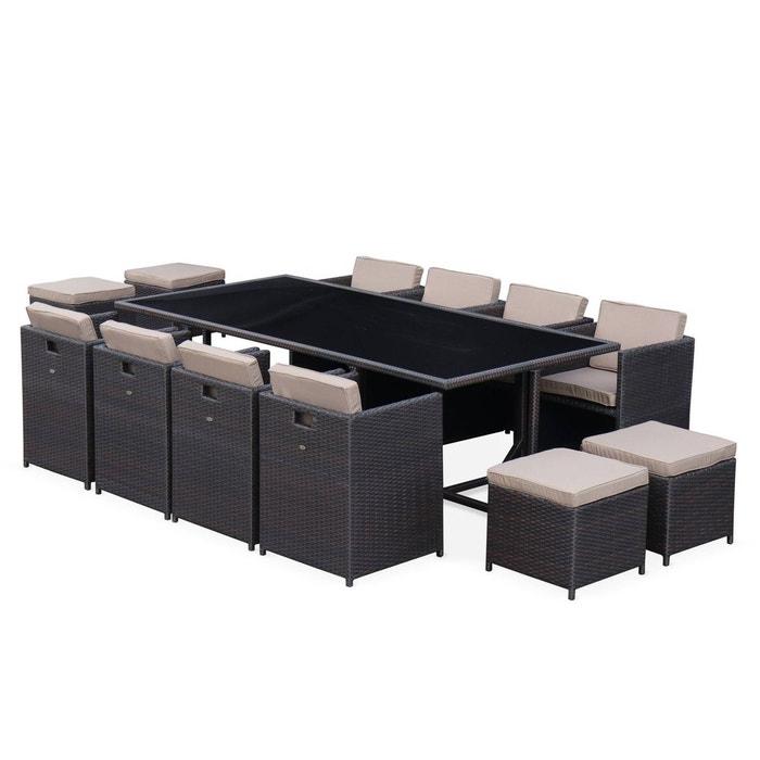 Salon de jardin vasto table en résine tressée 8 à 12 places ...