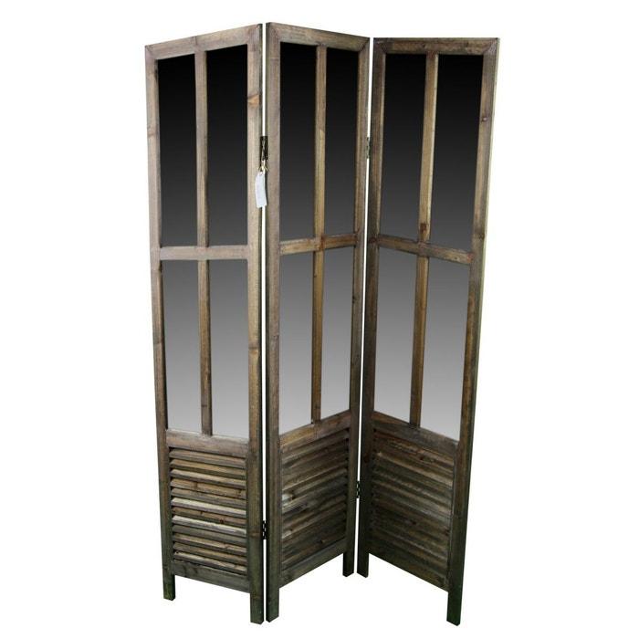 paravent miroir ancien bois 3 panneaux 126x2x170cm marron decoration d autrefois la redoute. Black Bedroom Furniture Sets. Home Design Ideas