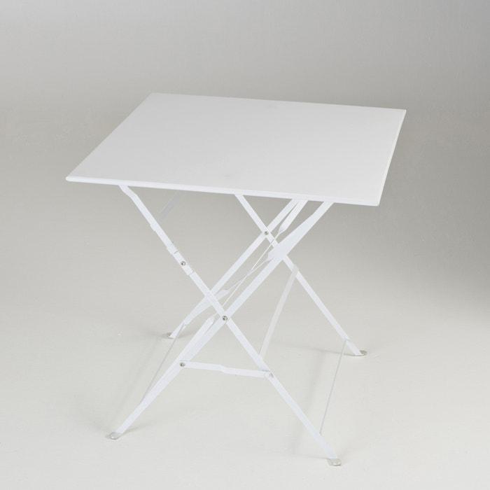 table pliante carr e m tal blanc la redoute interieurs la redoute. Black Bedroom Furniture Sets. Home Design Ideas