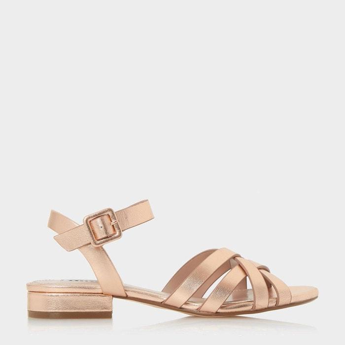 Sandales à brides tissées et talons carrés - insley  or_rose cuir Dune London  La Redoute
