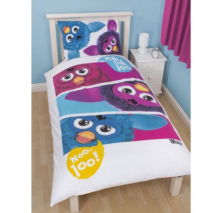 Parure de lit r versible furby hasbro blanc bleu violet - La redoute parure de lit ...