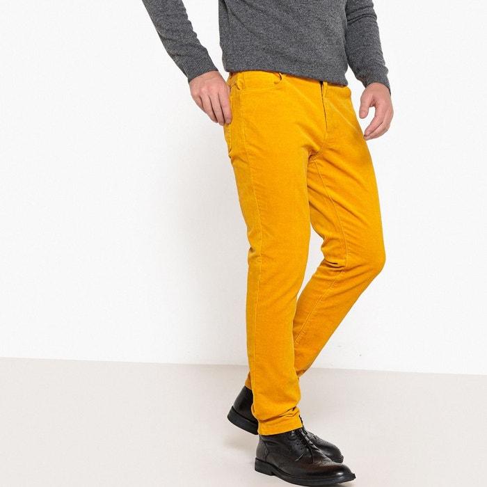 pantalon en velours coupe slim jaune safran la redoute. Black Bedroom Furniture Sets. Home Design Ideas