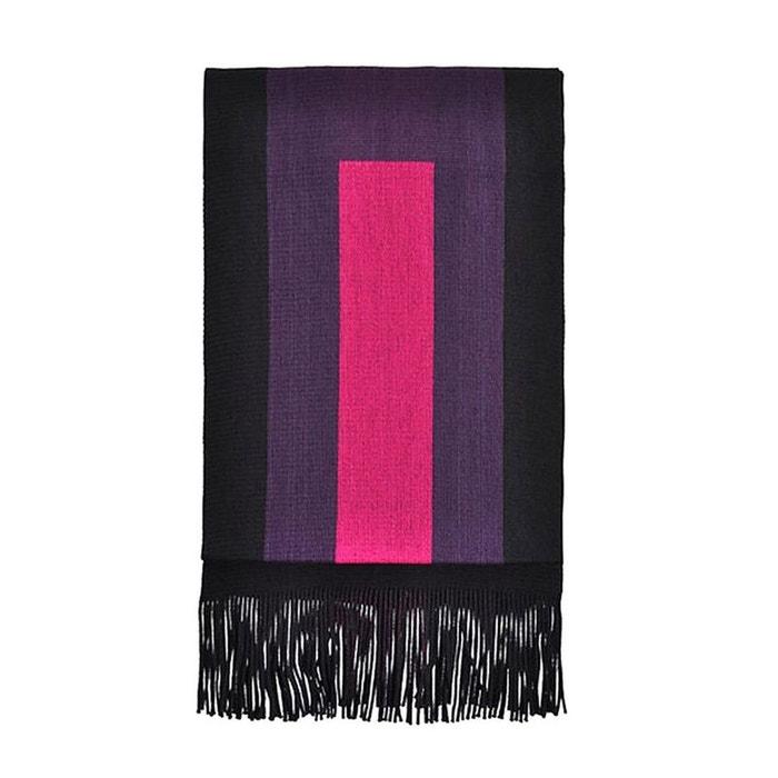 Echarpe en laine fabriquée en france, modèle nevers noir fushia multicolore  Toutacoo   La Redoute 79fb6bea179