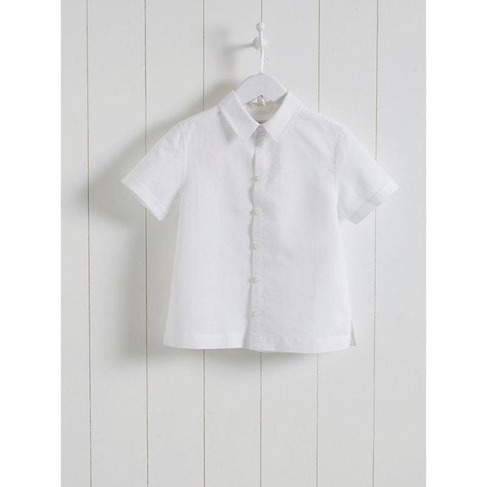 Chemise lin/coton garçon manches courtes