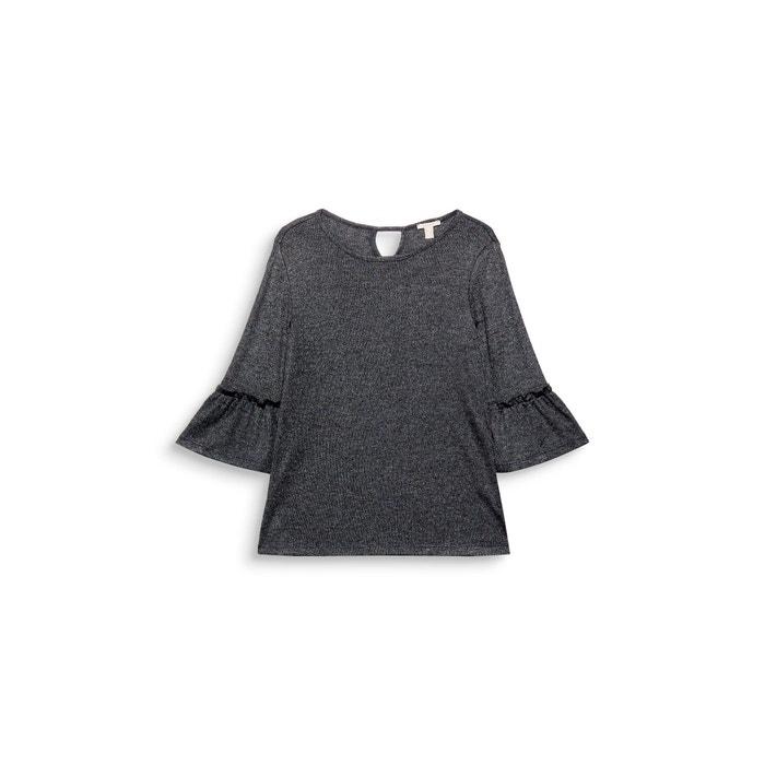 3 con manga Camiseta 4 y ESPRIT cuello lisa redondo wEOf0q