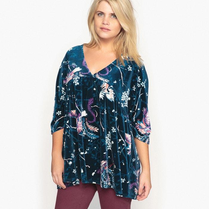 Image T-shirt col V imprimé floral, maille velours CASTALUNA