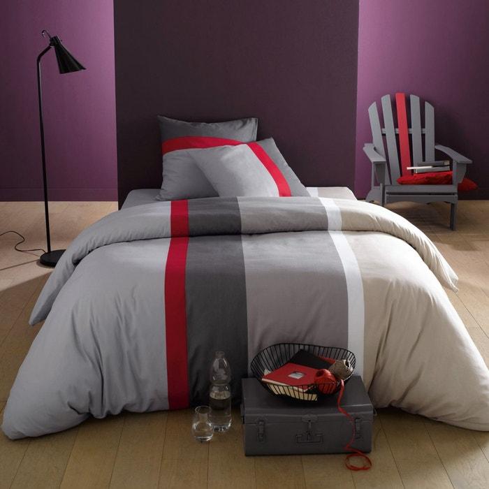 Image Housse de couette + taie(s) carrée(s), JAZ gris/rouge/beige PRIX MINI