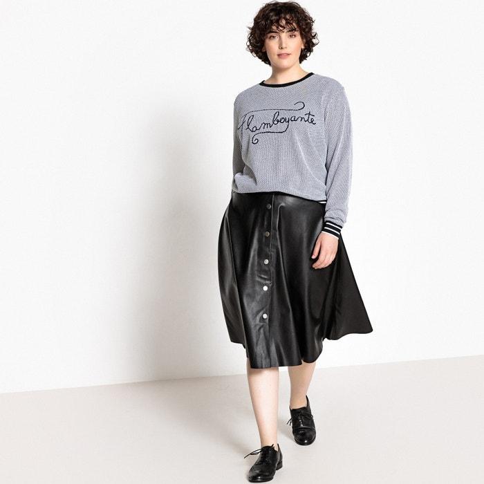 manga CASTALUNA redondo de algod 100 larga 243;n cuello con Camiseta XqrXa