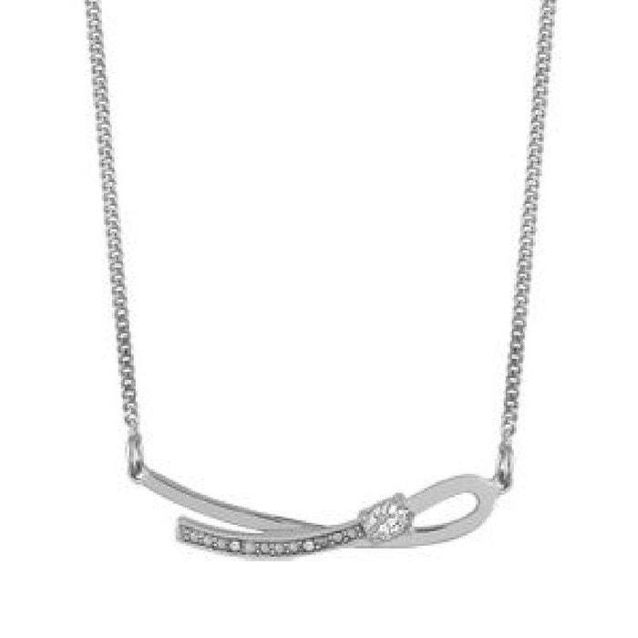 Collier chaîne joaillerie 43 + 3 cm pendentif boucle oxyde de zirconium sertissage main argent 925 couleur unique So Chic Bijoux   La Redoute Dédouanement Bas Prix 0NizvvN1