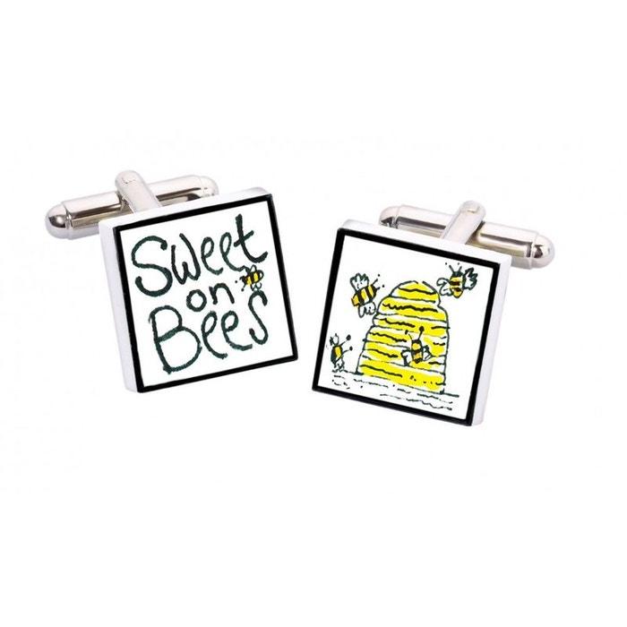 Bouton de manchette sweet on bees, bone china jaune Sonia Spencer | La Redoute