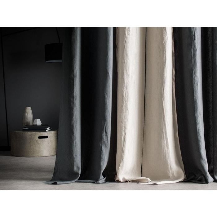rideau droit en 100 lin lav bicolore anthracite lin bourdon contrast anthracite oeuillets. Black Bedroom Furniture Sets. Home Design Ideas