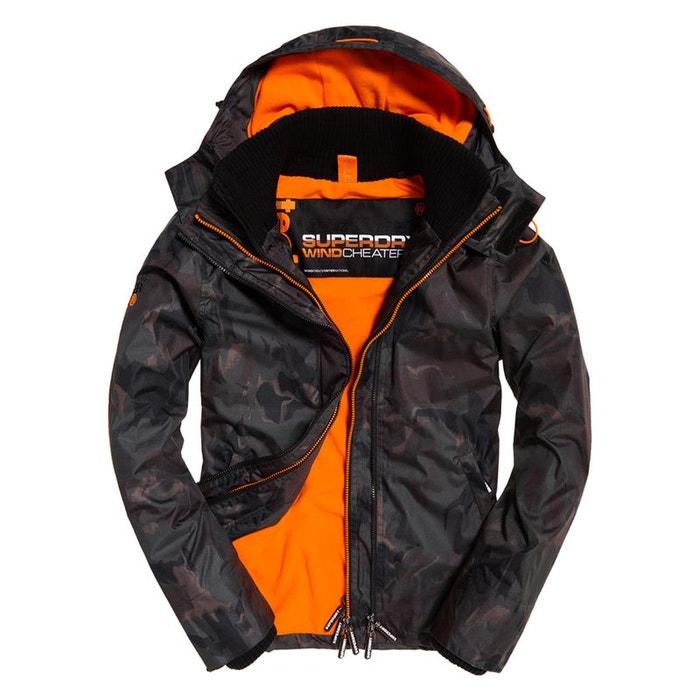 9eca8a9f8d7fc Veste à capuche arctic print pop zip sd-windcheater camouflage flouté/orange  Superdry | La Redoute