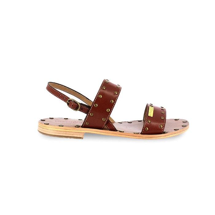 Sandales plates en cuir haude marron Les Tropeziennes Par M Belarbi
