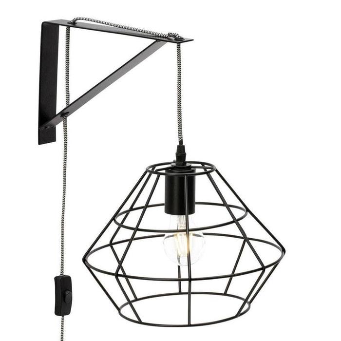 aldo applique murale m tal noir h37cm noir brilliant la redoute. Black Bedroom Furniture Sets. Home Design Ideas