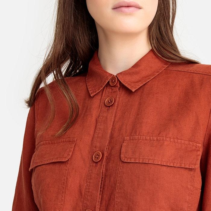 8b6df63ad Camisa recta de manga larga de lino La Redoute Collections