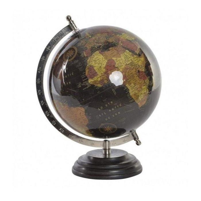 globe terrestre style ancien noir base bois noir wadiga. Black Bedroom Furniture Sets. Home Design Ideas
