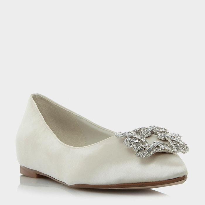 Chaussures plates à bout pointu et broche carrée ornée de bijoux fantaisie Meilleur Magasin En Ligne Pour Obtenir FasIFcJfR