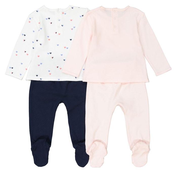 96eabd5699a02 Lot de 2 pyjamas 2 pièces en coton 0 mois – 3 ans rose imprimé La ...