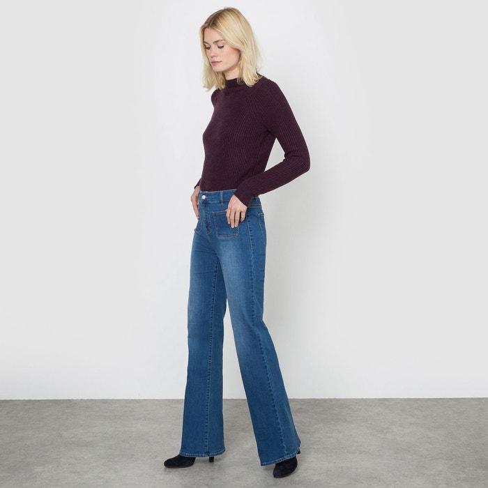 jean flare taille haute bleu stone la redoute collections en solde la redoute. Black Bedroom Furniture Sets. Home Design Ideas