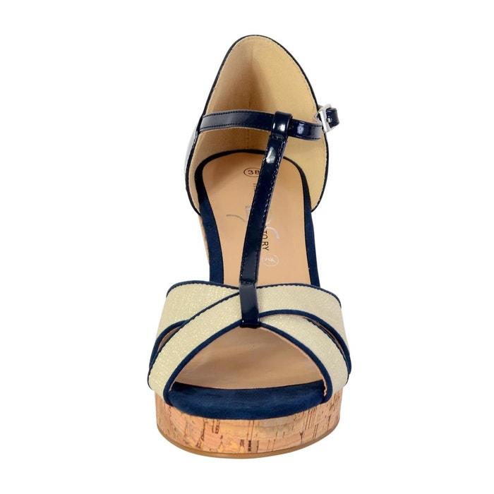 Sandales compensée femme marine marine The Divine Factory