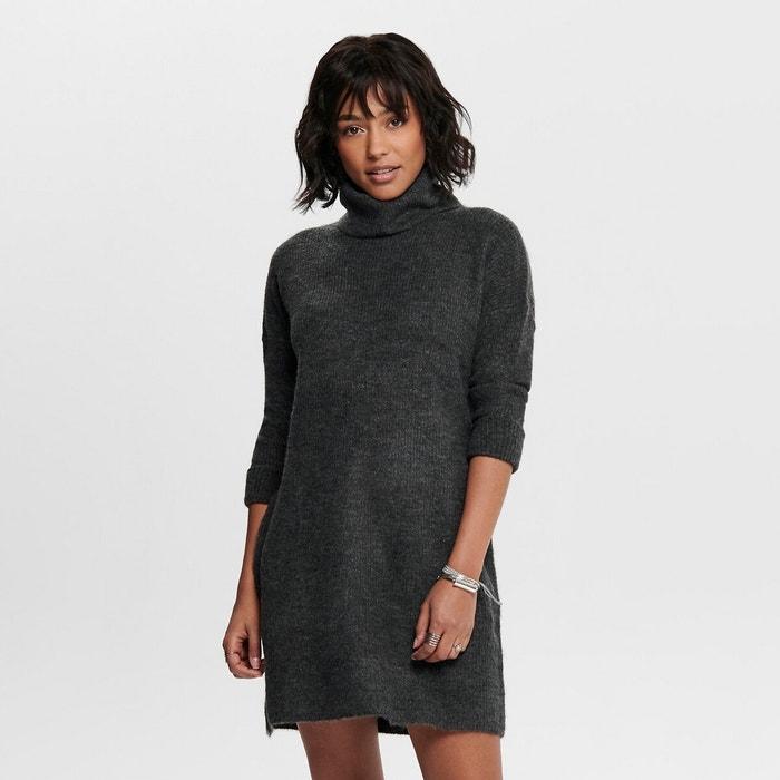 Turtleneck Jumper Sweater Dress In Chunky Knit Dark Grey Marl Only La Redoute