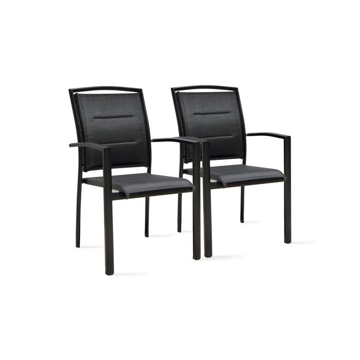 2 fauteuils de jardin noir en aluminium et textil ne couleur unique boutique jardin la redoute for Fauteuil salon de jardin la redoute
