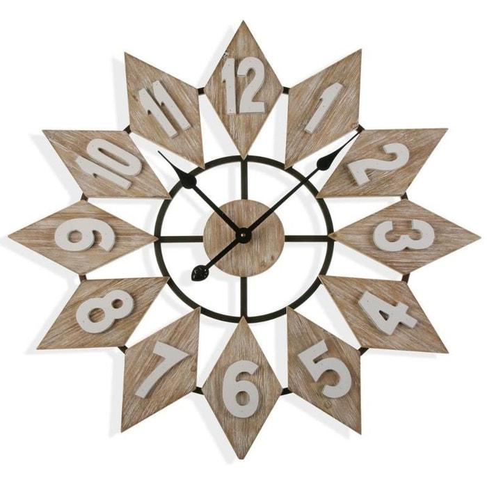 ... métal - Coloris Blanc Horloge murale - Bois - D 80 cm 2018 ... f38bfb256730