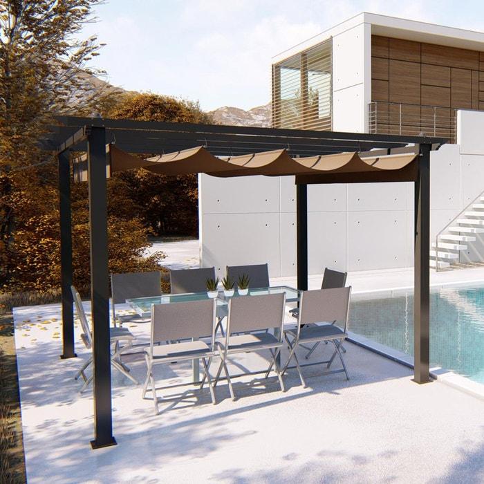 regia tonnelle autoportante 3 x 3 m structure aluminium et toile polyester taupe taupe. Black Bedroom Furniture Sets. Home Design Ideas