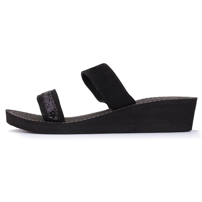 Sandales femme larges lanières noir Isotoner