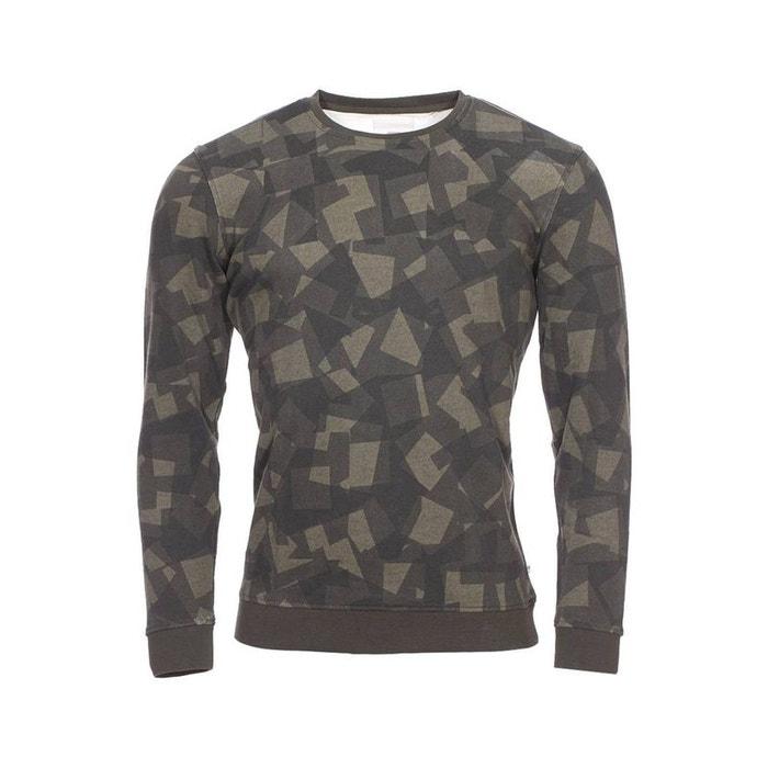 Vert À Et Image Camouflage Minimum Sweat 0 Coton Imprimé Col Kaki En Rond OHxx0wRSq