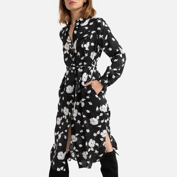 Robe Fleurie Mi Longue A Manches Longues Imprime Fond Noir Derhy La Redoute