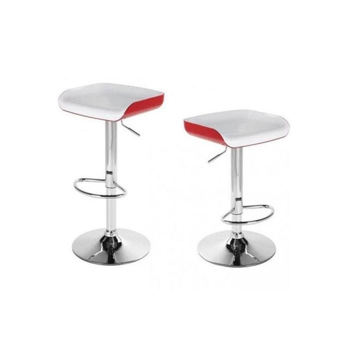 lot de 2 tabourets de bar fizz blanc et rouge rouge. Black Bedroom Furniture Sets. Home Design Ideas