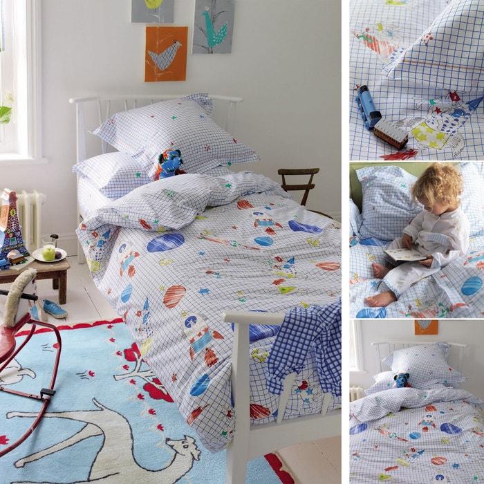 housse de couette to the moon en coton bleu bleu designers. Black Bedroom Furniture Sets. Home Design Ideas